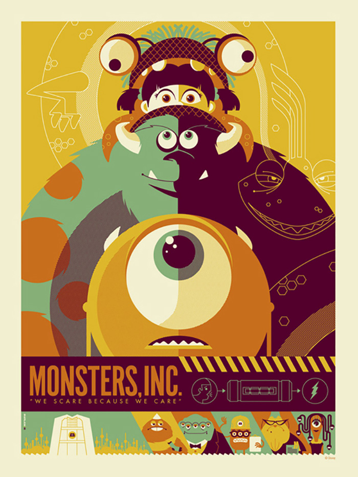 Alternative Movie Poster For Monsters Inc By Tom Whalen