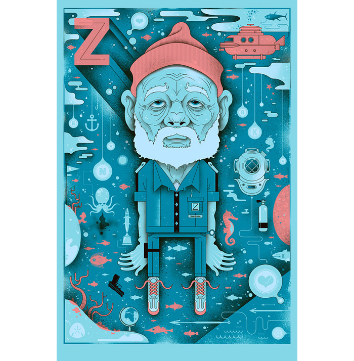 alternative movie poster for the life aquatic by graham erwin