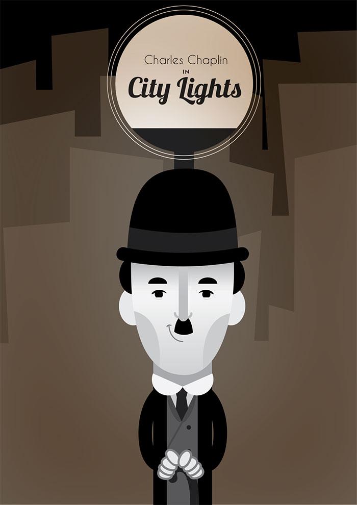 alternative movie poster for city lights by clara ishikawa. Black Bedroom Furniture Sets. Home Design Ideas