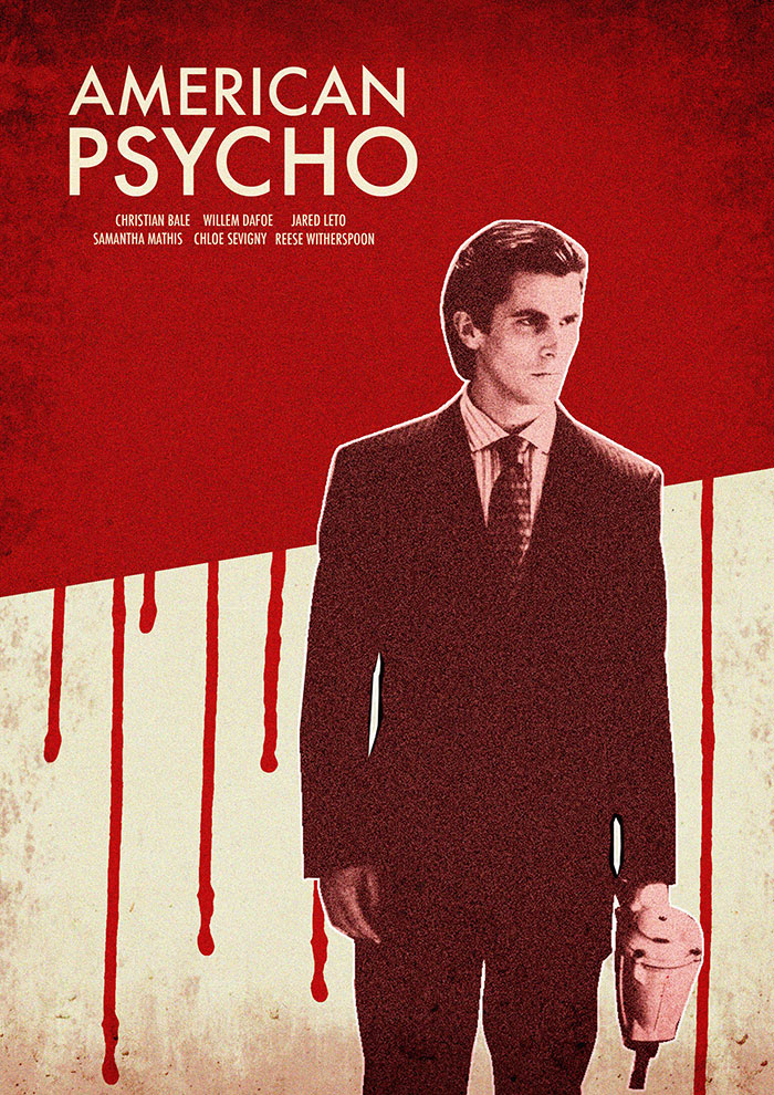 alternative movie poster for american psycho by william minns
